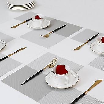 Placemats For Dining Table,place Mats Heat-resistant Non-slip Washable And Easy To Cut Set Of 4 (gray-white)