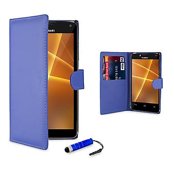 Book Leather Wallet Case + stylus for Huawei Ascend P6 - Deep Blue