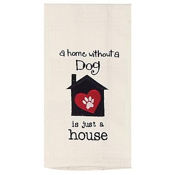 A Home Without A Dog Is Just a House Embroidered Waffle Weave Kitchen Dish Towel