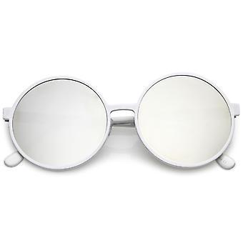 Übergroße Runde Metall Sonnenbrille mit Farbe gespiegelten flachen Objektiv 58mm