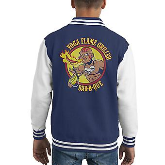 Varsity Jacket yoga Flame BBQ Street Fighter capretto