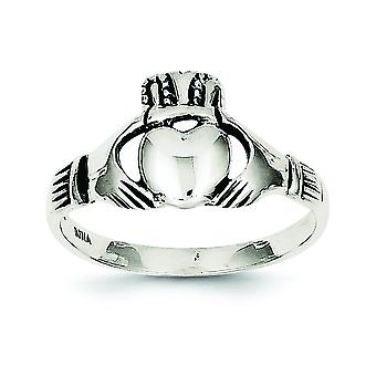 925 Sterling Silver Solid Polished Antique finish Antiqued Claddagh Ring - Ring Size: 6 to 8