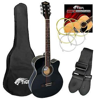 Tiger Full Size Beginners Acoustic Guitar Package, Bag, Strap &