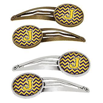 Bogstavet J Chevron lilla og guld sæt 4 hårspænder hår klip