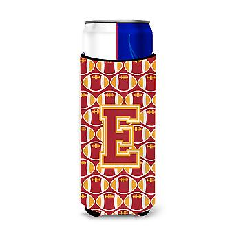 Letter E Football Cardinal and Gold Ultra Beverage Insulators for slim cans