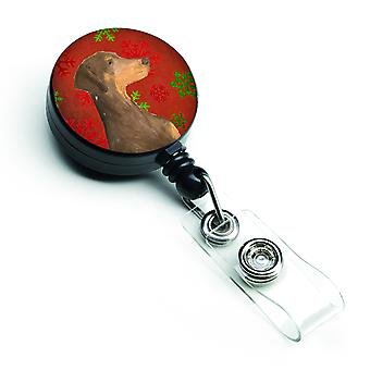 Doberman Red and Green Snowflakes Holiday Christmas Retractable Badge Reel
