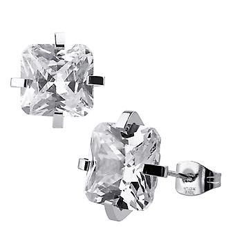 Classic stainless 316L steel earrings with zirconia plug