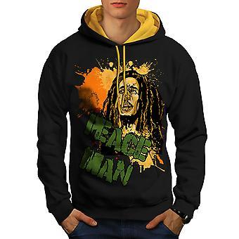 Bob Marley Peace Rasta Men Black (Gold Hood)Contrast Hoodie | Wellcoda