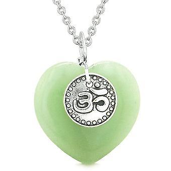 Magic OM Tibetan Spiritual Powers Puffy Heart Amulet Green Quartz Pendant 18 inch Necklace