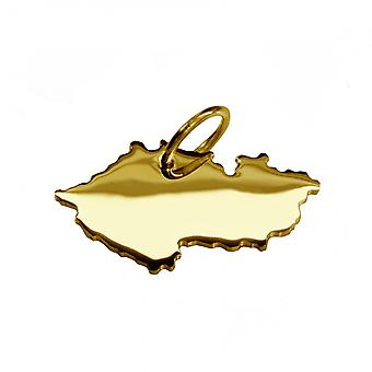 Trailer map Czech Republic in massive 585 gold pendants