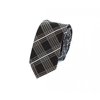 Schlips Krawatte Krawatten Binder 6cm schwarz weiß grau kariert Fabio Farini