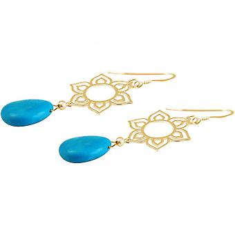Damas - Pendientes - plata 925 - oro - flor de loto - 4,5 cm drop - azul - YOGA - mandala - turquesa-