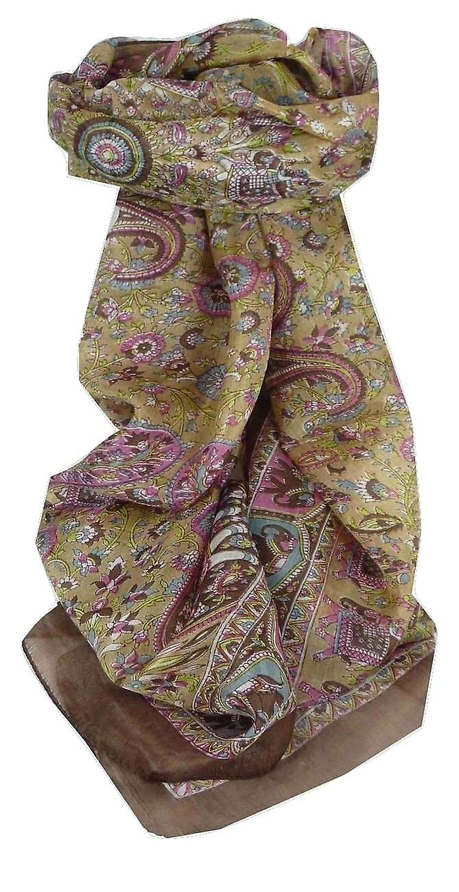 Mulberry Silk Traditional Long Scarf Kirin Brown by Pashmina & Silk