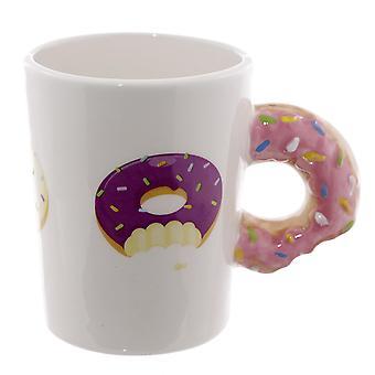 Donut Tasse 3D mit pink  Glasur handbemalt, aus Keramik, Fassungsverm÷gen ca. 320 ml, in Geschenkbox
