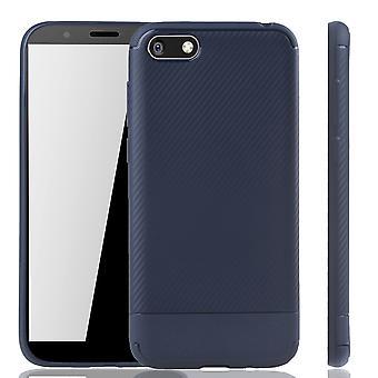 Huawei Y5 2018 mobiili kansi Schutzcase carbon optic puskurin Blau