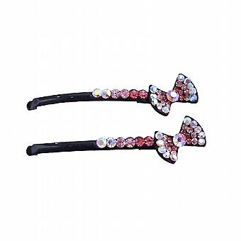 Party Gift Hair Pin Fuchsia Rose Clear Crystals Bow Hair Pin