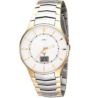 JOBO men's wristwatch radio radio clock stainless steel bicolor gold date men's watch