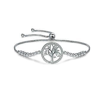 Damen Life Tree Armband geschmückt mit Kristall von weiß und Silber Swarovski 925 8098