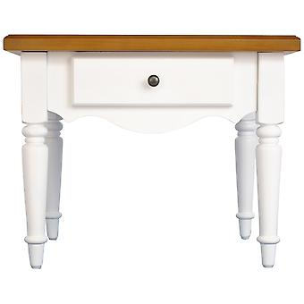 Country - Solid Wood Side / End / Bedside Table With Drawer - White / Pine