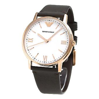 Emporio Armani Ar11011 Rose Gold Brown Leather 43mm Men's Watch