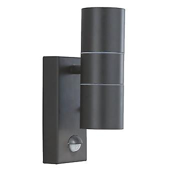 Zoeklicht exterieur veranda zwarte muur licht met geïntegreerde PIR bewegingsmelder