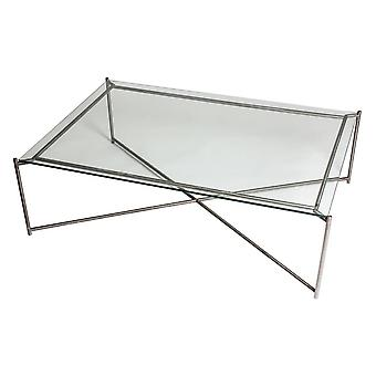 Gillmore Clear Glass Rectangular Coffee Table With Gun Metal Cross Base