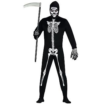Mens skelet jumpsuit Halloween fancy dress kostuum