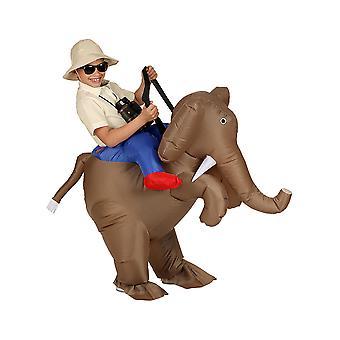 Utforskare på elefant (luft blåst uppblåsbar kostym med hatt)