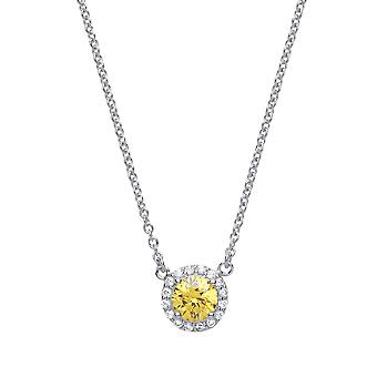 Jewelco Londen dames rhodium plated zilver gele ronde Cubic Zirconia Solitaire Halo Charm Necklace 15 + 2 inch
