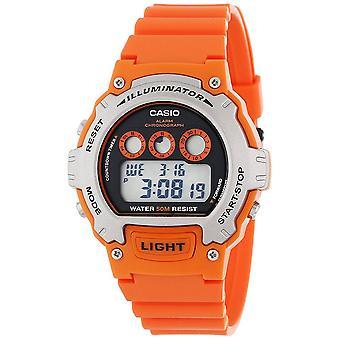 Montre à Quartz Casio Mens avec cadran gris affichage Digital et bracelet résine Orange