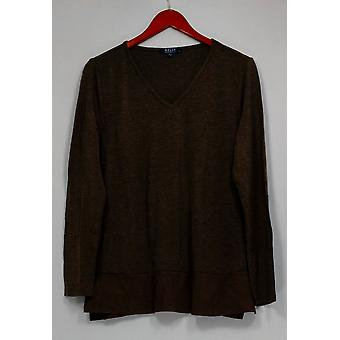 Kelly by Clinton Kelly Top Knit Long Sleeve Faux Suede V-Neck Gray A283415