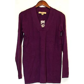 Motto Long Sleeve V-Neck Tunic Sweater Plum Purple A209308
