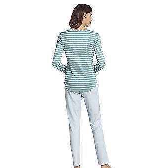 Rosch 1193536-16407 Women's Smart Casual Glacier Blue Striped Cotton Pyjama Set
