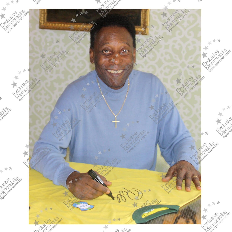 Pele signert nummer 10 Brasil fotball skjorte innrammet