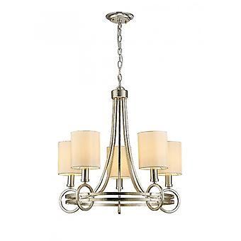 Diyas Isabella Pendant With Beige Shade 5 Light E14 Antique Silver/Teak Plated