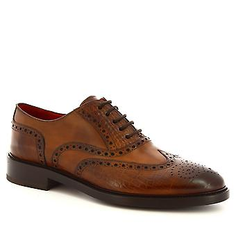 Leonardo Shoes Men's handmade lace-ups brogues shoes in brandy calf leather