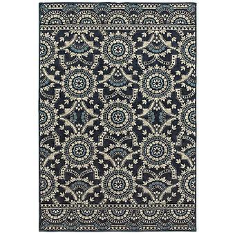 Linden 7842a navy/ grey indoor area rug rectangle 5'3