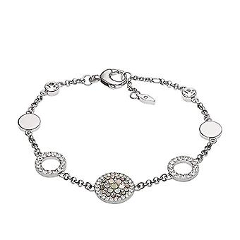 Fossil Women's bracelet in leather/stainless steel with Cubic Zirconia and Mother of Pearl