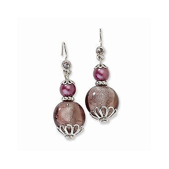 Tono plata Pastor gancho púrpura cristal con cuentas púrpura larga gota colgante pendientes regalos de joyería para las mujeres