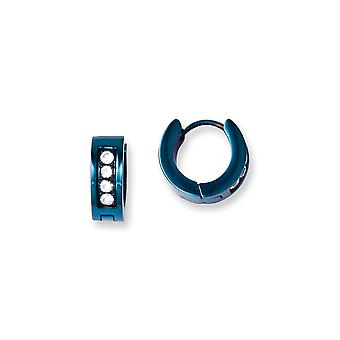 Stainless Steel Polished Blue Ip-plated With Cubic Zirconia Hinged Hoop Earrings