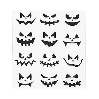 12 Spooky Pumpkin Face Stickers for Halloween Crafts