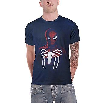 Spiderman T Shirt Portrait Logo Acid Wash novo Official Mens Blue