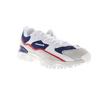 Umbro Bumpy Mens White Blue Suede & Mesh Low Top Lace Up Sneakers Shoes