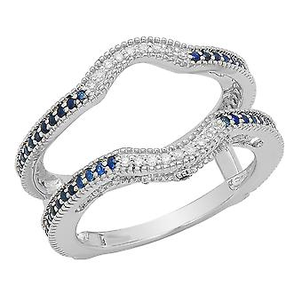 Dazzlingrock Collection 10K Blue Sapphire & White Diamond Anniversary Wedding Guard Ring 1/2 CT, White Gold