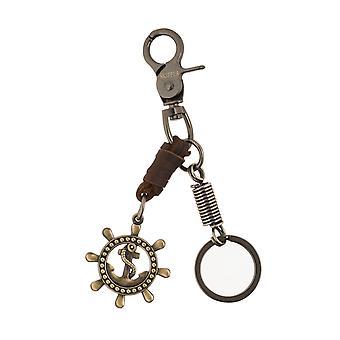 Skipper keychain nyckelring Carabiner krok ratt med ankare brun 8277