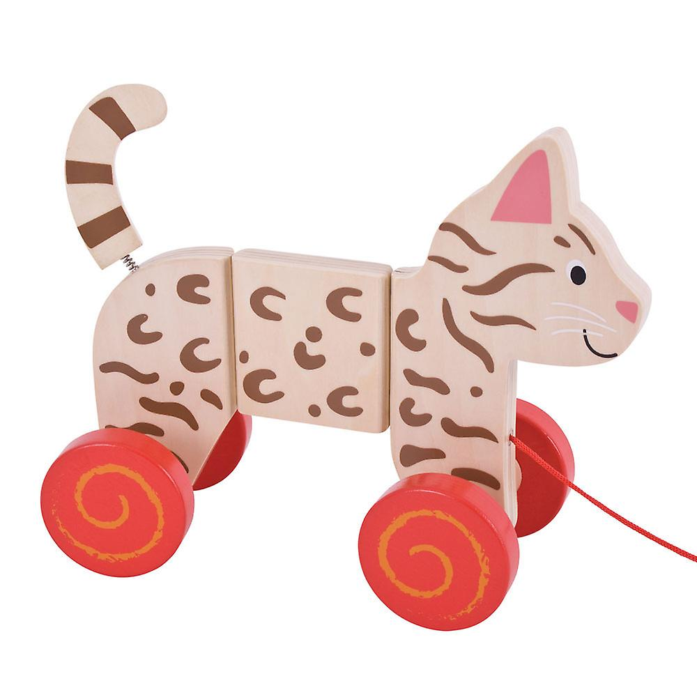 Walking Toys for Babies and Toddlers Bigjigs Toys Wooden Cat Push Along