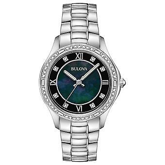Bulova 96L266 Women's Black Dial Crystal Wristwatch