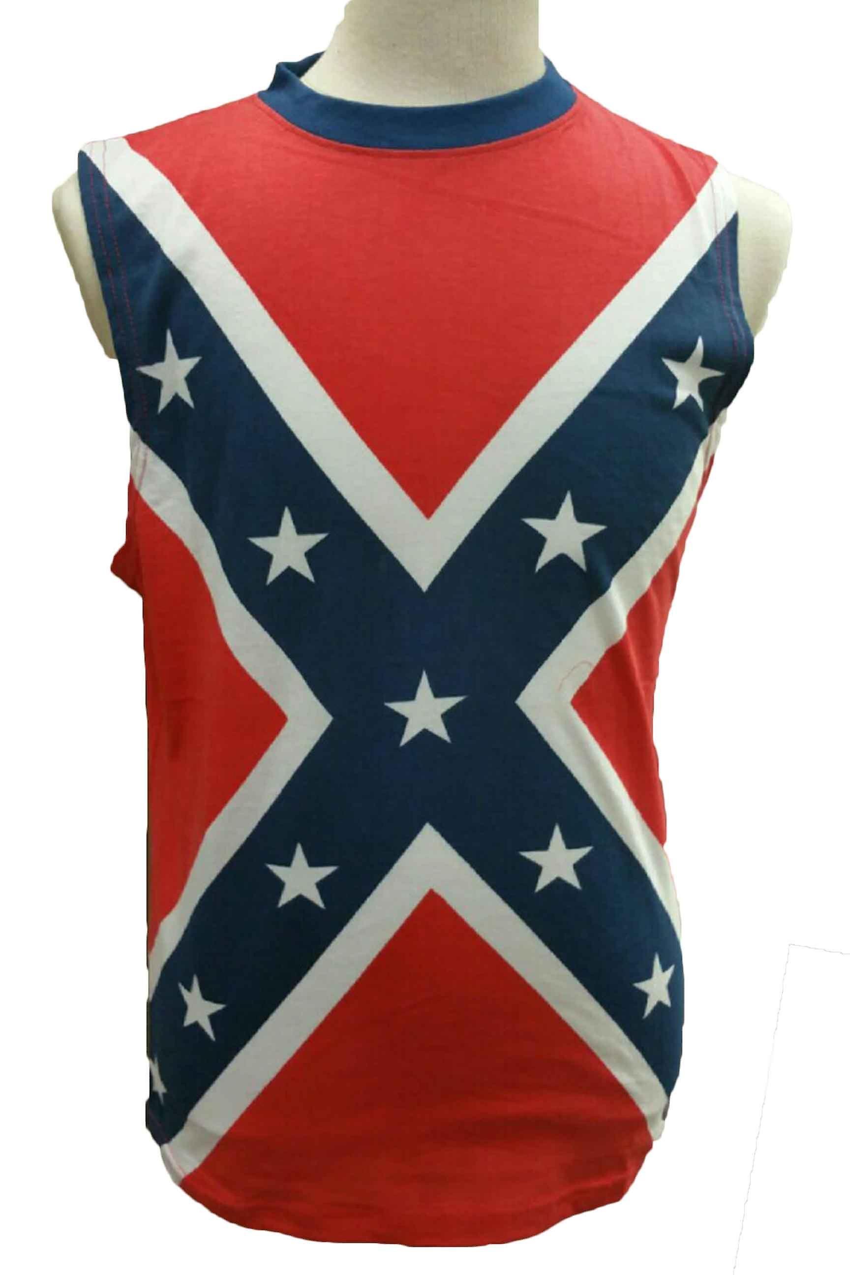 Män ' s Confederate Rebel Flag ärmlös skjorta södra Dixie Redneck Pride