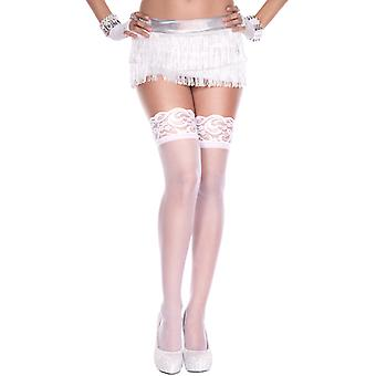 Fine Fishnet Stockings With Lace Elastic Webbing-White