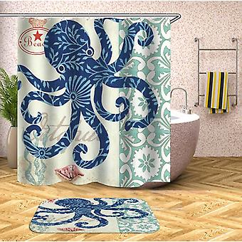 Blue Octopus Drawing Shower Curtain